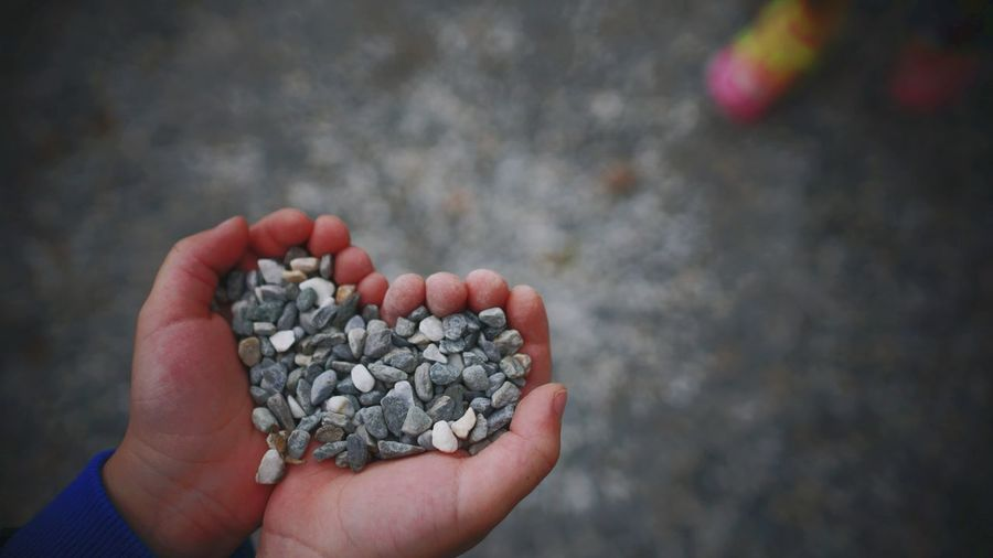 Close-Up Of Hand Holding Pebbles