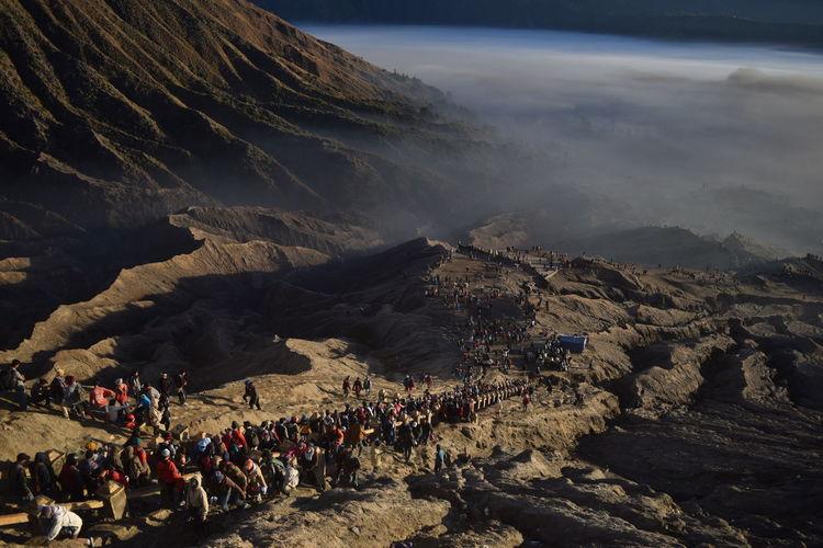 People climbing on mountain
