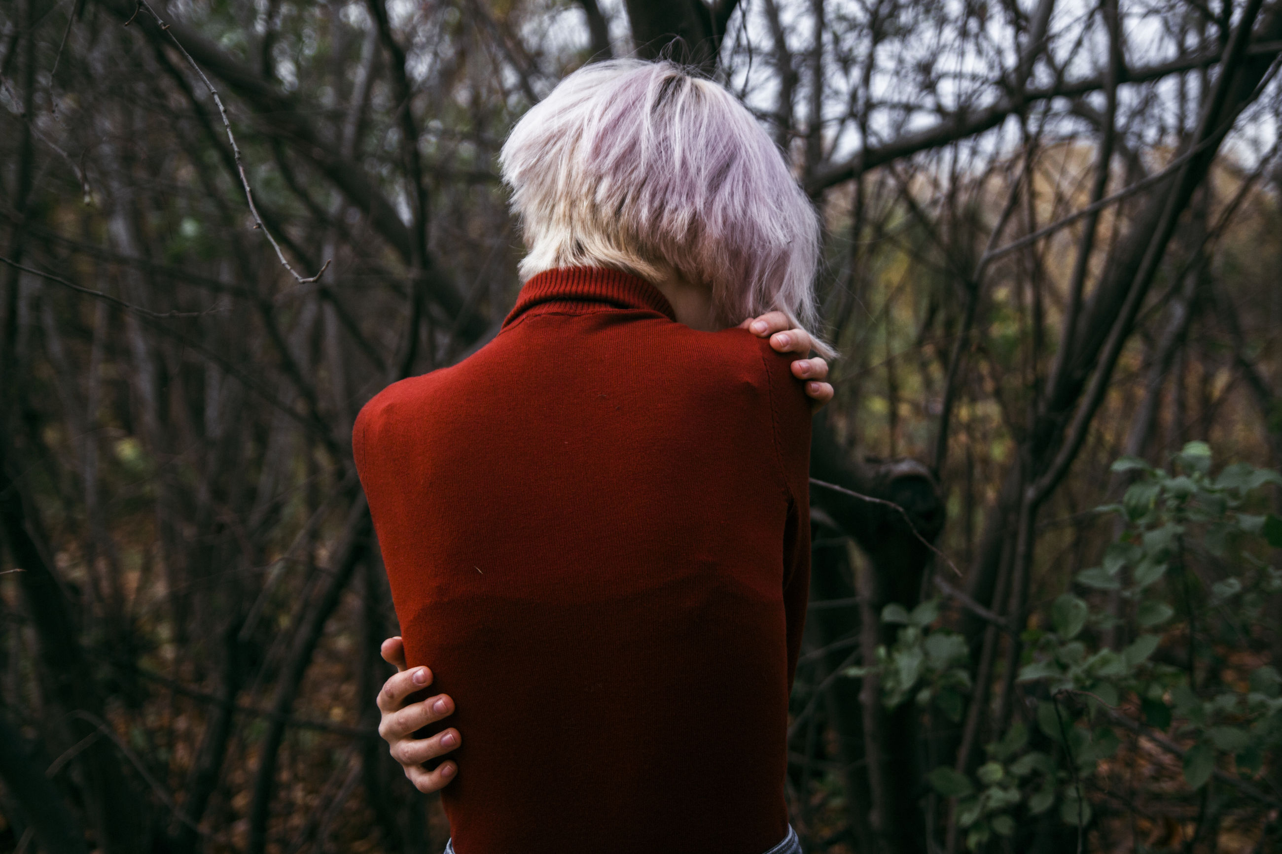 rear view, real people, one person, tree, leisure activity, childhood, lifestyles, outdoors, day, bare tree, standing, nature, forest, boys, blond hair, beauty in nature, people