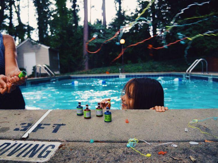 Pool Swimming Fun Summer Fireworks Girl Children Kids Colors Celebrating
