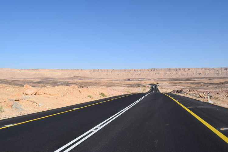 Empty Road Along Barren Landscape