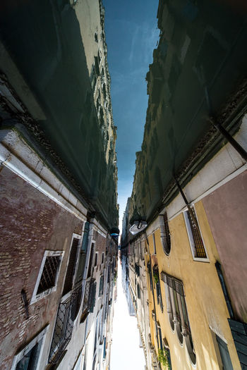 Upside down image of canal amidst buildings