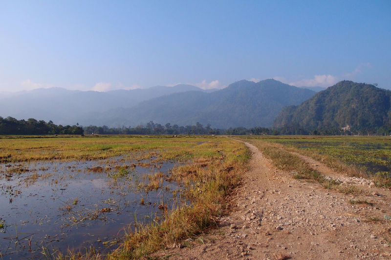 road towards mountains ASIA Leading Lines Road Beauty In Nature Blue Sky Day Field Gravel Landscape Malaysia Mountain Mountain Range Nature No People Outdoors Scenics Sky Tranquil Scene Tranquility Tree Water
