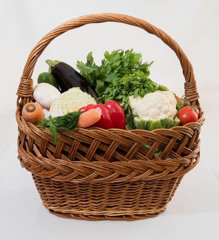 Basket Bread Close-up Cucumber Day Food Food And Drink Freshness Healthy Eating High Angle View Indoors  Lettuce No People Picnic Basket Shopping Basket Studio Shot Tomato Vegetable Whicker White Background Wicker
