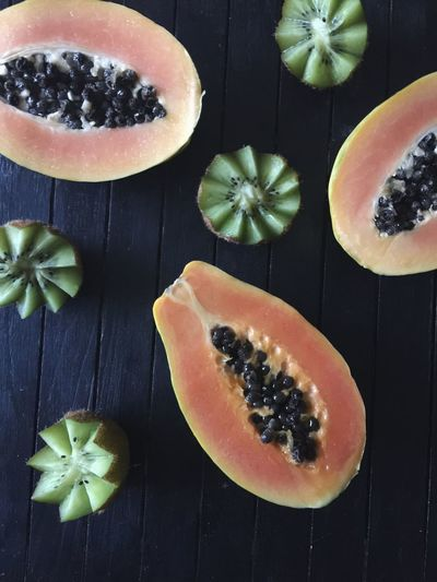 Fruit Food And Drink Healthy Eating Freshness Papay SLICE Food Halved No People Seed Table Passion Fruit Papaya Kiwi - Fruit Indoors  Cross Section Pumpkin Close-up Ready-to-eat Art Is Everywhere