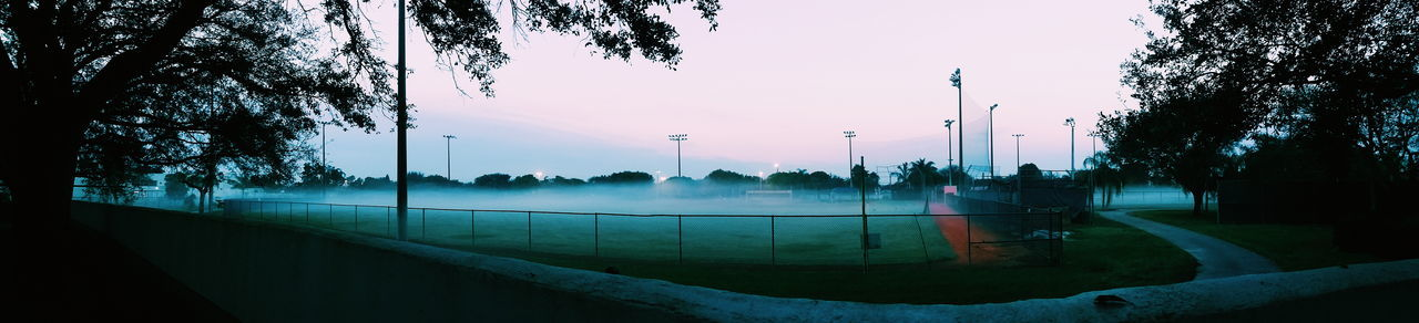 Panoramic Shot Of Flamingo Park During Foggy Weather