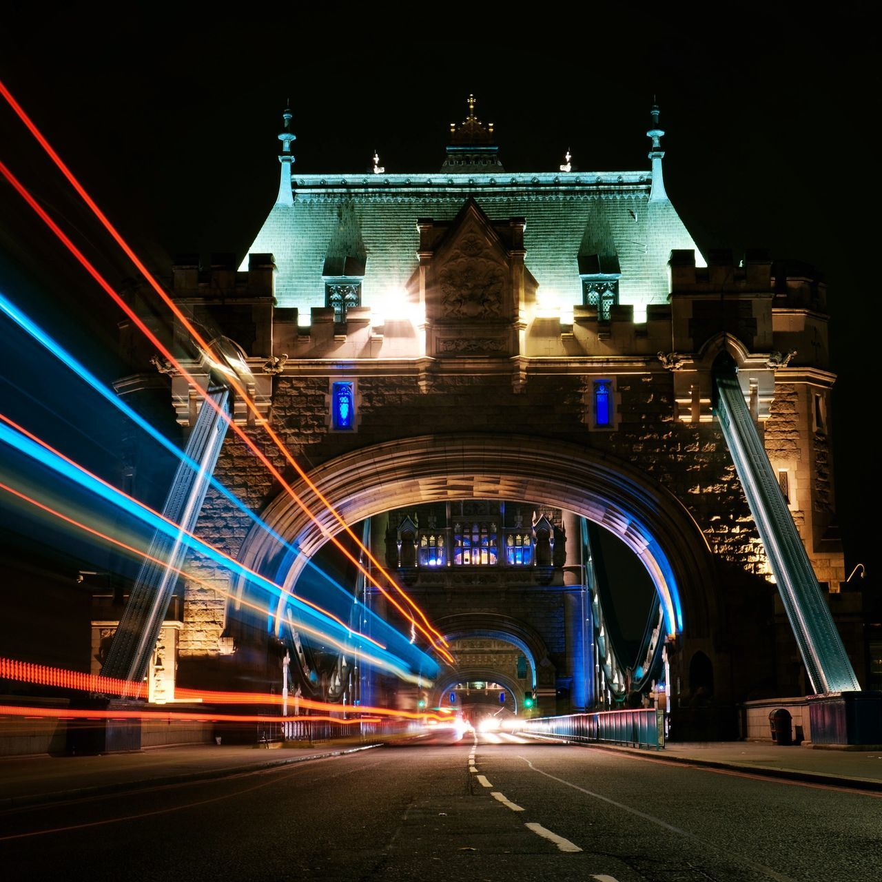 Light Trails On Tower Bridge In City At Night