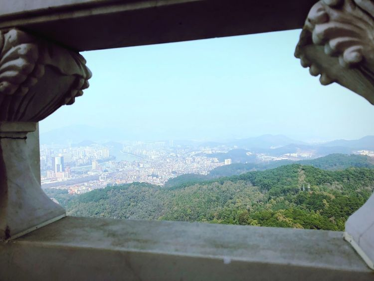 Cityscape from a mountain top. Shaoguan Travel Destinations Travelgram On The Horizon Pictures Tell A Story View From Above Travel Photography Framed View Day Architecture Built Structure Building Exterior Mountain Window Outdoors Cityscape City Landscape