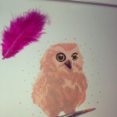 halo little owl Drawing Watercolours Owl Art