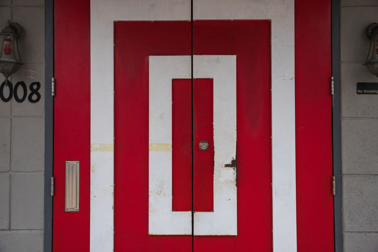 the door Home Wall Address Architecture Building Exterior Built Structure Canon Close-up Day Door House Keyhole Metal No People Outdoors Protection Red Safety Scratch Street Streetphotography White