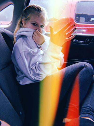 Rainbow😋 Rainbow Glare Celebration Model Blurred Background Sunlight Rain Cute Backgrounds Sun Sunset Day Simple Beauty Beauty In Nature Woman Girl Child Warm Clothing Childhood Supermarket Girls Car Sitting Car Interior Land Vehicle Journey Silhouette Orange Color Back Seat