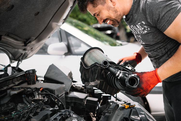 Man working on motorcycle