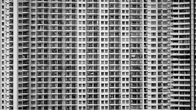 Blocks Cityscape Apartment Architecture Backgrounds Balconies Black And White Building Building Exterior Built Structure City Condominium Dwelling High Rise Building In A Row Outdoors Pattern Residential District Skyscraper Squares Urban Vertical And Horizontal Lines Window