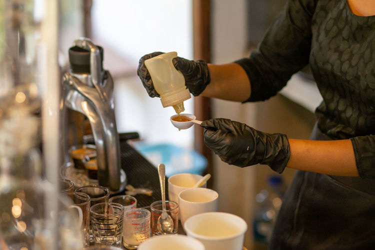 Man working with coffee