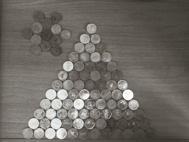 Things Organized Neatly Nepal Coins Geometry