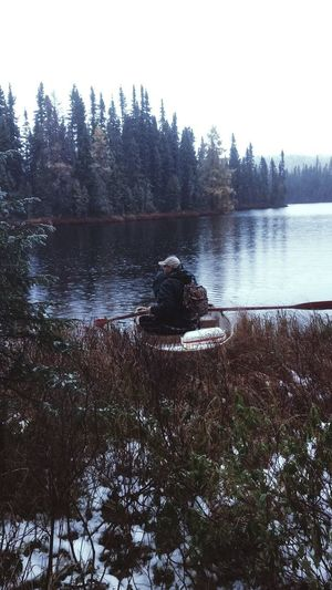 Hunting season is right around the corner Tree Water Clear Sky Lake Sky Lakeshore Pine Tree Woods Forest Calm Coniferous Tree Spruce Tree Standing Water