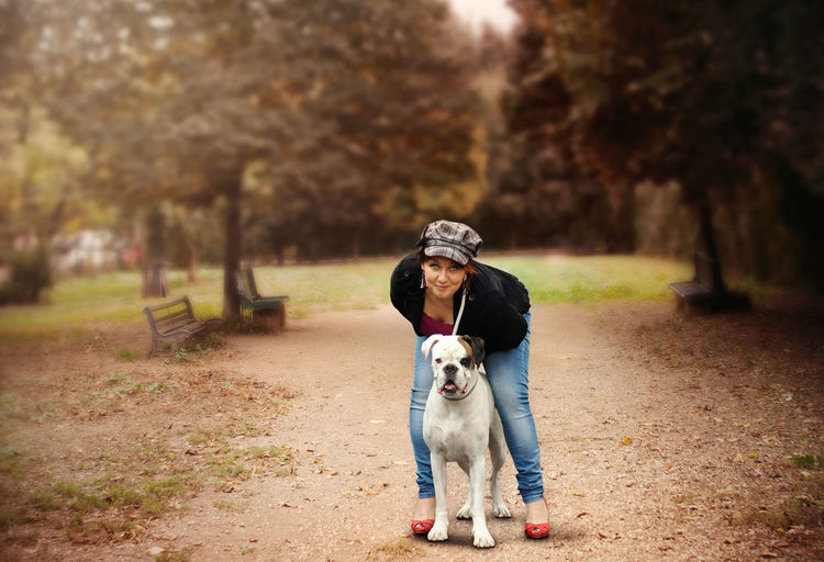 Autumn Autumn Colors Color Photography Day Dog Dog And Woman Domestic Animals Friends Full Length Nature Outdoors Park Photography Portrait