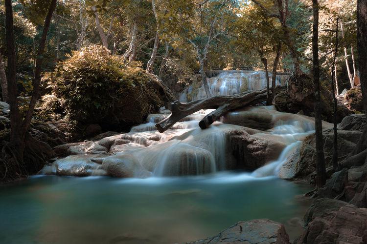 Scenic view of erawan waterfall