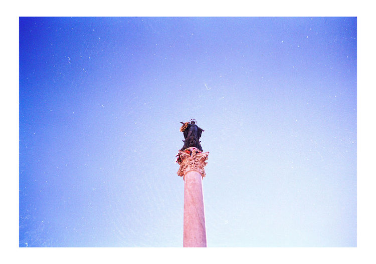 Analogue Photography Roma Rome Architecture Blue Built Structure Clear Sky Colonna Dell'immacolata Roma Film Photography Filmcamera Filmisnotdead Low Angle View Monument No People Outdoors Piazza Mignanelli Rome Sky Your Ticket To Europe