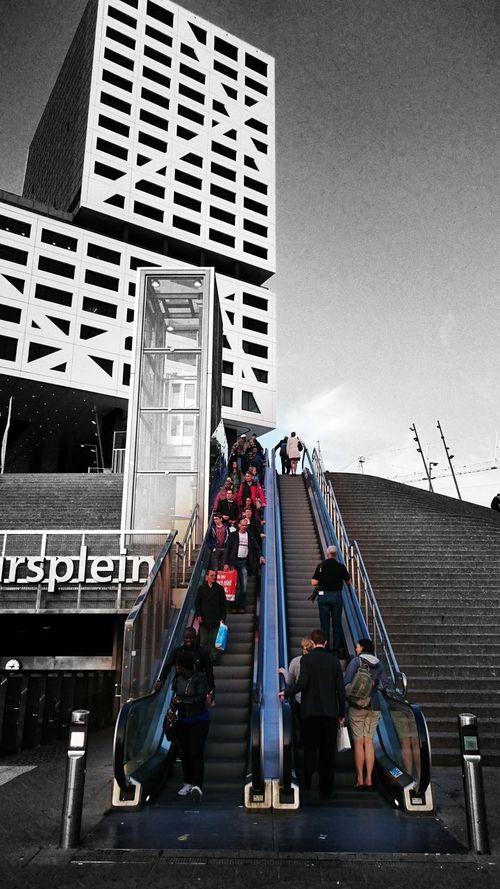 Utrecht Utrecht Centraal Jaarbeursplein Escalator towards the Entrance of the Station The Architect - 2016 EyeEm Awards Monochrome Colorsplash (c) 2016 Shangita Bose All Rights Reserved My Commute Feel The Journey Urban Geometry