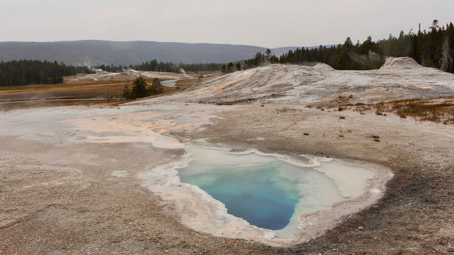 Scenic View Of Hot Spring At Yellowstone National Park