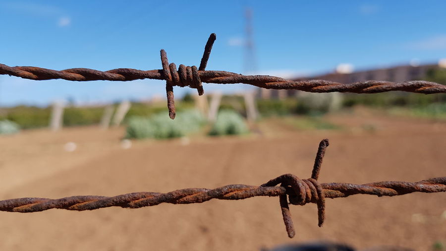 Close-up of rusty barbed wire on field