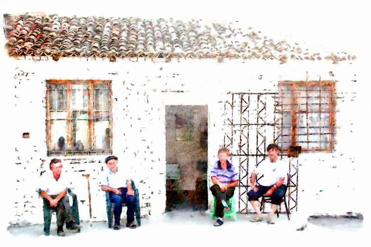 Men sitting on the doorstep Albania Art And Craft Paint Sitting Sitting Outside Architecture Art Building Exterior Built Structure Digital Art Digital Painting Full Length Men Outdoors Real People Watercolor Watercolor Painting