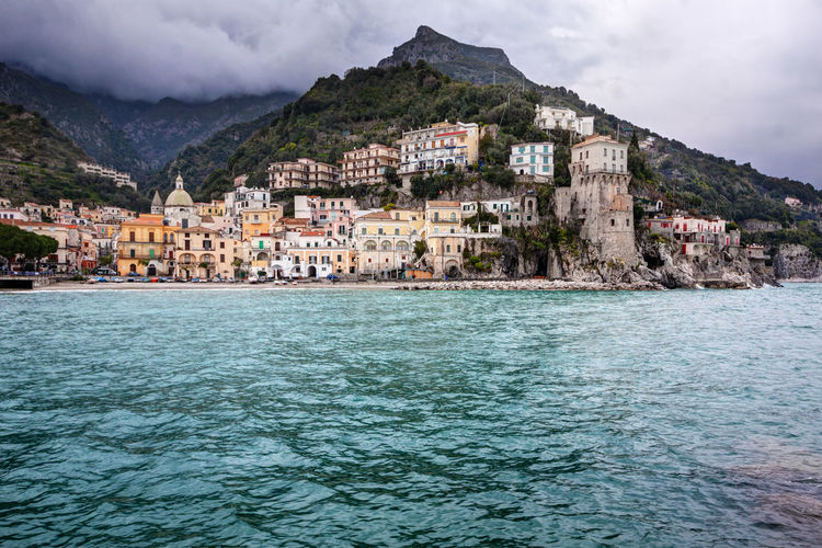Cetara, a small town along the Amalfi Coast in Campania, Italy Cetara Amalfi Coast Campania Italy Travel Destinations Town Village Seaside TOWNSCAPE Sea Mountains Nature Beach No People Waterfront Outdoors Cloud - Sky Coastline
