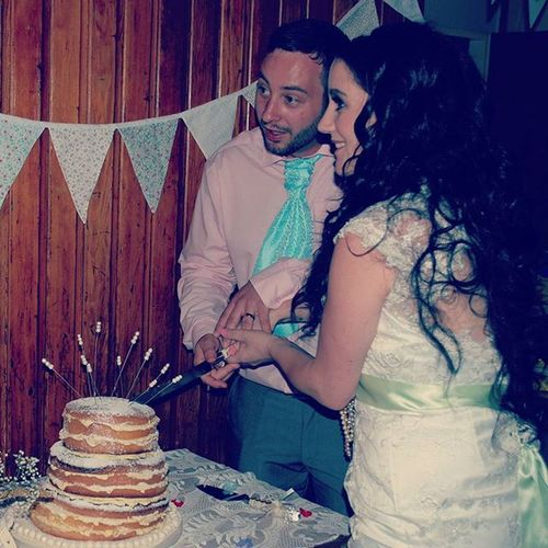 Weddingday  Cuttingthecake Wedding2014 090814 Husband Wife Vintage Donotdeservehimsometimes Lacedress Pastel Bunting Reception Iwill Ido Iwill Wewill Bride Groom Forever Betterorworse Blackhair Greeneyes BlueEyes Browneyes PinkShirt  bluetie greenribbon pearls