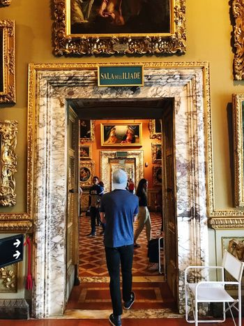 Florence Italy Men Architecture Rear View Real People Built Structure Spirituality Religion Full Length Leisure Activity Indoors  Pitti Palace Ornate People Italian Art Marble