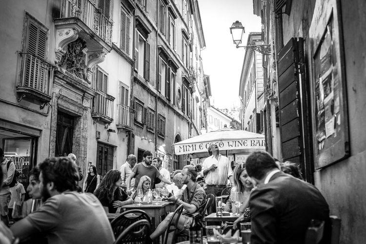 City Life Street Rome Lookingup Blackandwhite Cafe Fujifilm Streetphotography