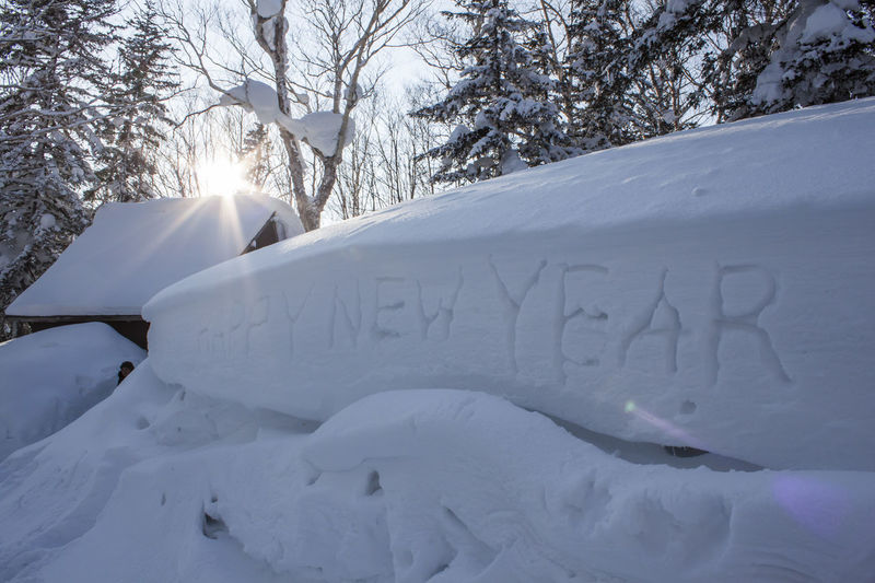 HAPPY NEW YEAR Winter Cold Temperature Snow White Color Text Tree Nature Beauty In Nature Plant Western Script No People Frozen Covering Day Tranquility Mountain Scenics - Nature Snowcapped Mountain Outdoors Tranquil Scene