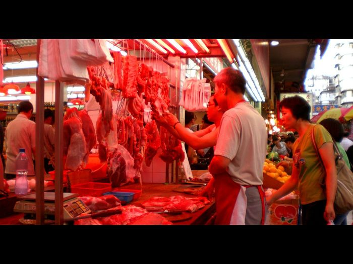 Asian Culture Meat Shop Fresh Red Street Photography Market