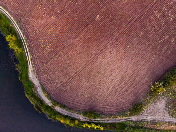 Curved pathway is between fields and river. Landscape Environment Land Tranquil Scene Tranquility Scenics - Nature Nature No People Day Plant Outdoors High Angle View Close-up Water Beauty In Nature Growth Tree Brown Textured  Fields Fieldscape Geometric Curve Path Dronephotography