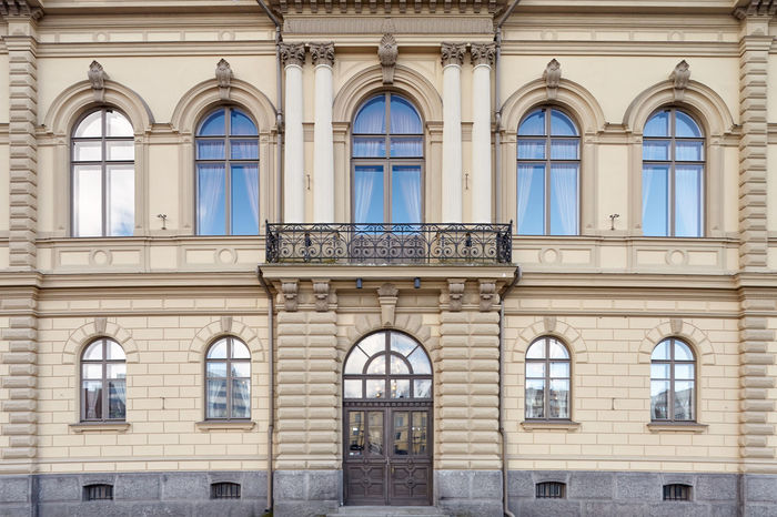 Old city hall building facade. Arch Architecture Architecture Building Building Exterior Built Structure City Day Decorations Door Doorway Façade Facades Full Frame No People Old Old Buildings Outdoors Window