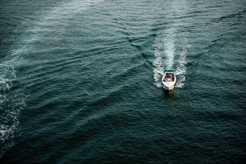 High Angle View Of Speedboat In Sea