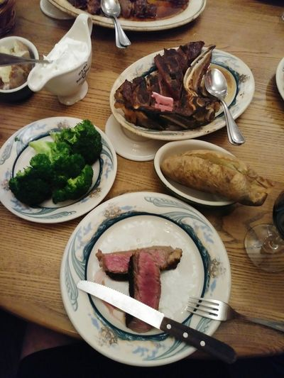 Peter Luger Steak House Steakhouse Steaks Steak Dinner Broccoli Baked Potato Sour Cream Plate Plate Of Food Knife Medium Rare Foodporn Good Food Food And Drink Foodphotography Dinner Plate Meat Table High Angle View Wood - Material Food And Drink Comfort Food Prepared Food Served Serving Size Red Meat