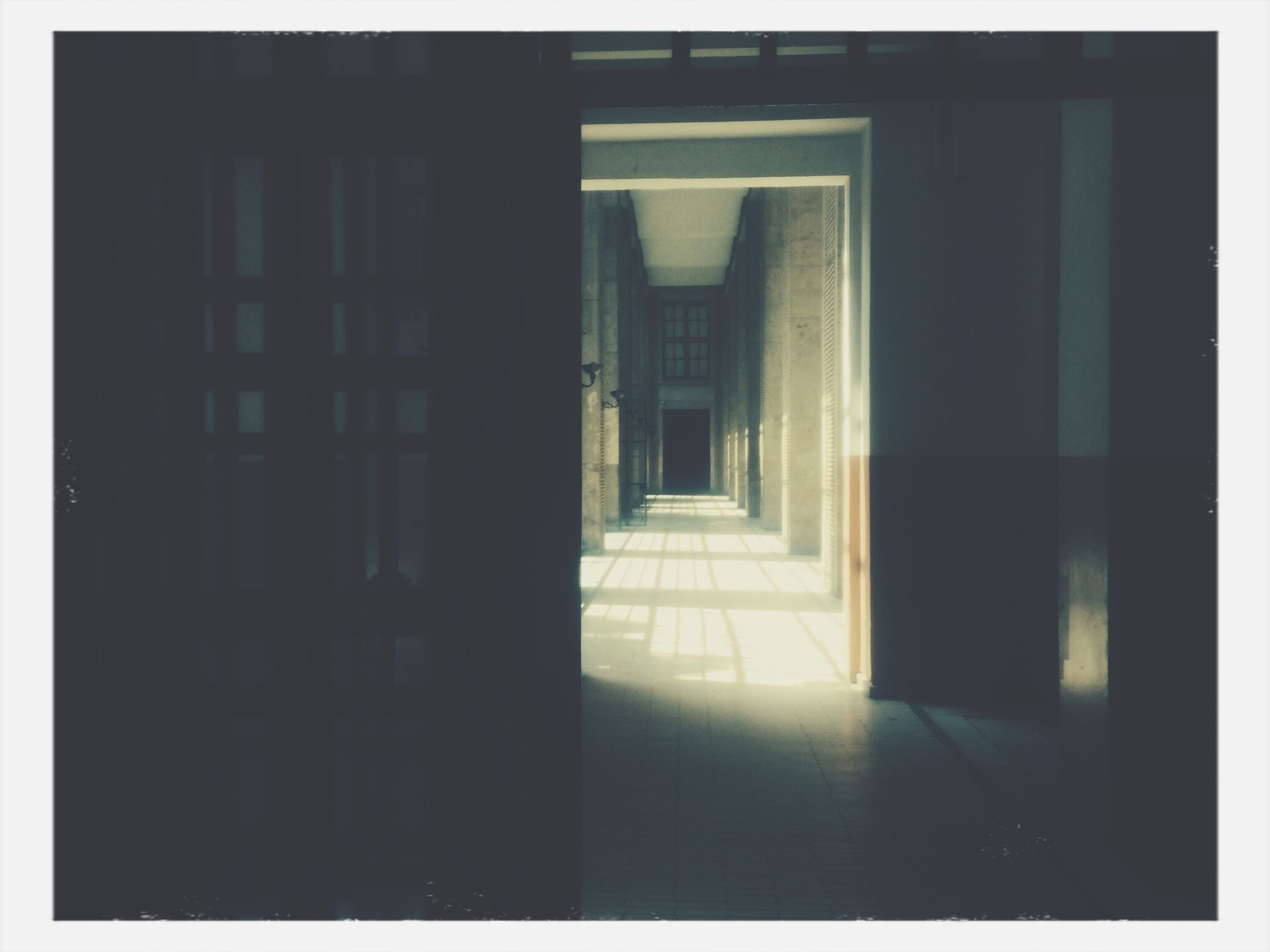 architecture, transfer print, built structure, indoors, auto post production filter, corridor, building exterior, window, door, the way forward, building, sunlight, empty, entrance, day, diminishing perspective, no people, flooring, doorway, absence