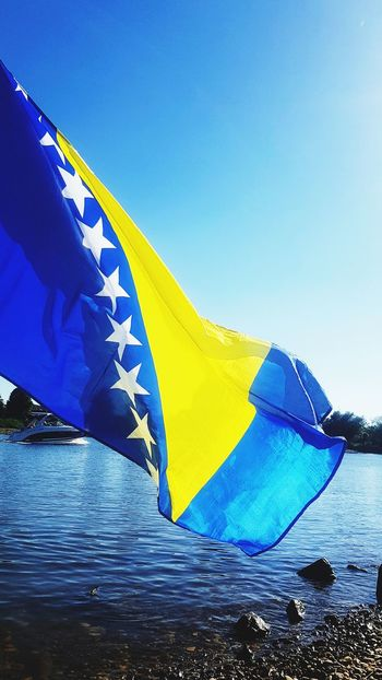 Blue Yellow Water Outdoors No People Sky Day Bosnia And Herzegovina Bosnia Flag Flags Flags In The Wind  Waving Dunav Danube Donau River Ship