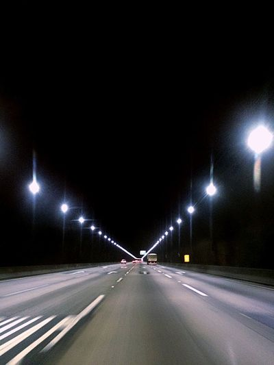 Illuminated Road Transportation Night The Way Forward Street Light Capture Tomorrow