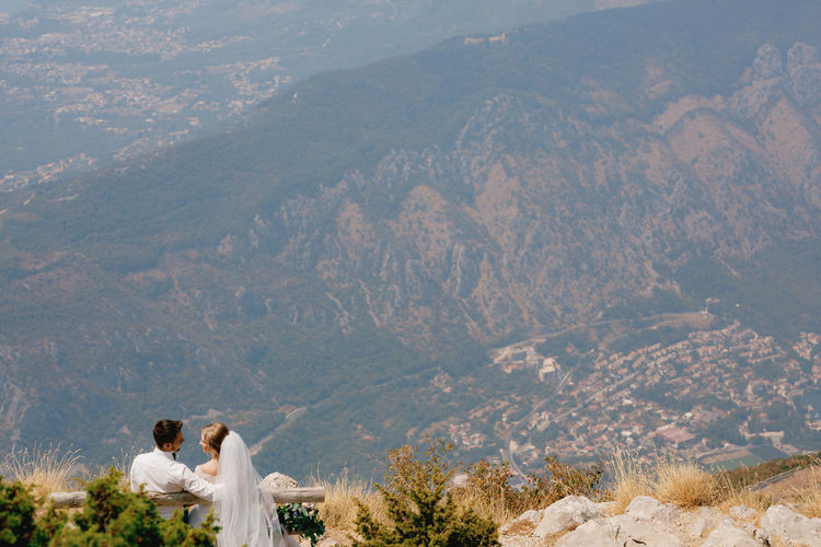 Rear view of couple on mountain