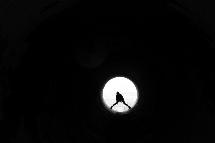 Abstract ArtED Black And White Circle Silhoutte Tunnel Tunnel Vision