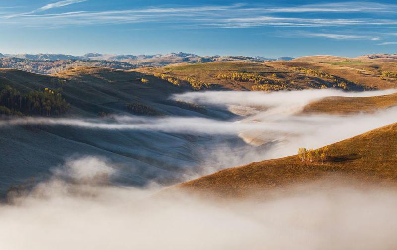 Foggy morning scene from Apuseni Mountains, Romania. Atmosphere Autumn Clear Sky Morning Tree Beauty In Nature Blue Sky Countryside Fog Foggy Hill Horizon Idyllic Landscape Mood Mountain Mountain Range Mountains Nature No People Outdoors Tranquil Scene Tranquility Valley View From Above