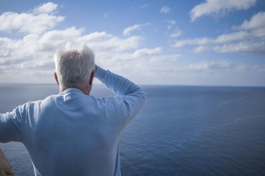 Blue Elderly Endlessness Horizon Perspective Senior Sky Travel Water