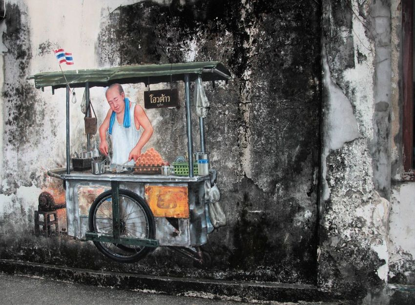Adult Adults Only Bicycle Day One Person Outdoors People Phuket Old Town Real People Transportation Wall Art