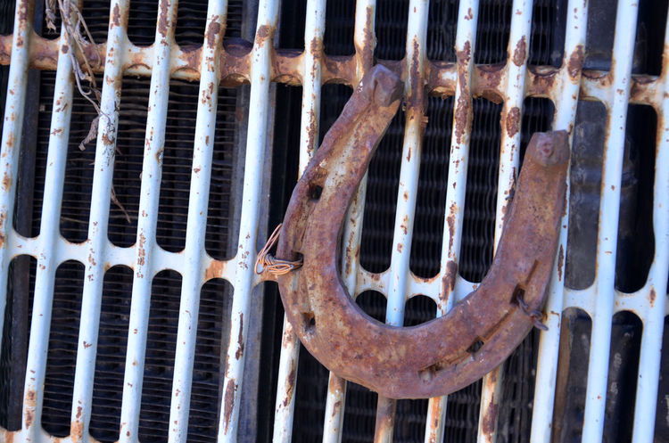 luck, horse shoe Backgrounds Close-up Day Full Frame Horse Shoe Land Vehicle Luck Metal Metal Grate No People Outdoors Oxidation Russia Rusty Security Bar Symbol Transportation