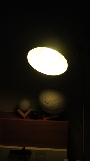 Low angle view of illuminated light bulb in the dark