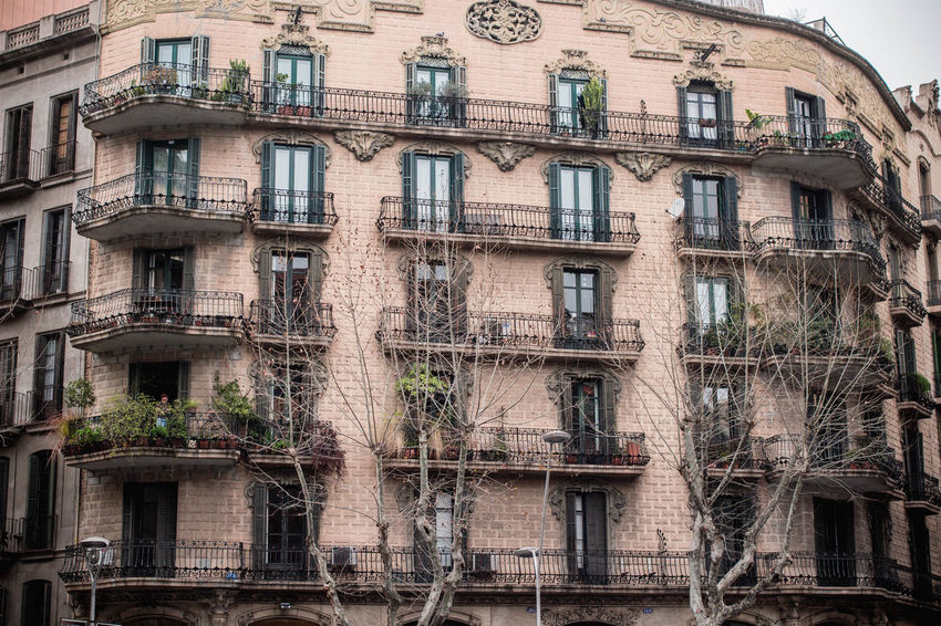 Catalonia Catalunya SPAIN Architecture Balconies Balconies In The Building Balcony Bare Tree Bare Trees Bay Window Bow Window Building Exterior Built Structure No People Outdoors Window Windows Winter Barcelona