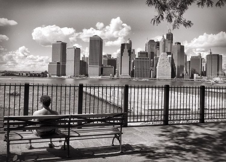 New York New York City Skyline Skyscraper Bench Sitting Man Sitting Man Streetphoto_bw Streetphotography People And Places Monochrome Photography My Year My View Long Goodbye The Street Photographer - 2017 EyeEm Awards Neighborhood Map