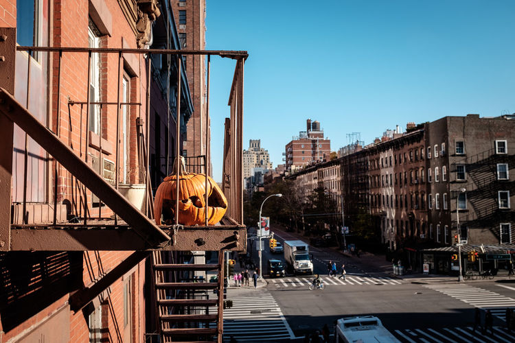 Halloween Manhattan New York City Architecture Building Exterior Built Structure City Clear Sky Day No People Outdoors Pumpkin Sky Sunlight